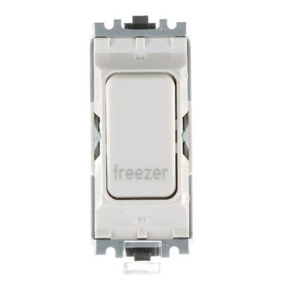 MK 20A Double Pole 1 Way Grid Plus Switch Module printed 'Freezer' K4896FZWHI