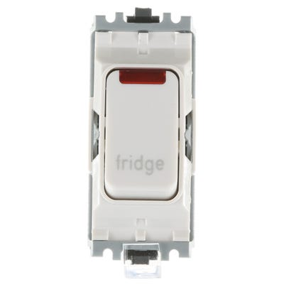 MK 20A Double Pole 1 Way Grid Plus with Neon Switch Module printed 'Fridge' K4896NFGWHI
