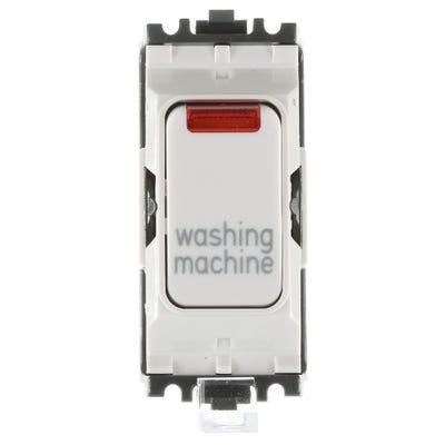 MK 20A Double Pole 1 Way Grid Plus with Neon Switch Module printed 'Washing Machine' K4896NWMWHI