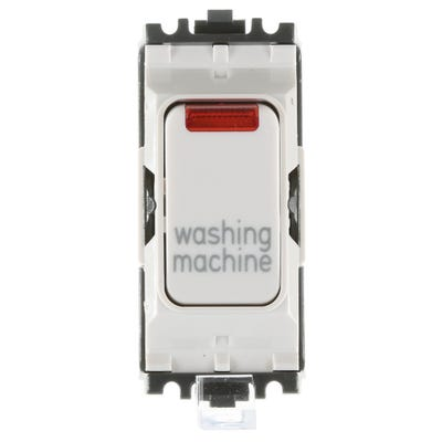 MK 20A Double Pole 1 Way Grid Plus with Neon Switch Module printed 'Washing Machine' K4896NWMWHI