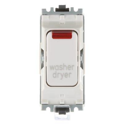 MK 20A Double Pole 1 Way Grid Plus Switch Module printed 'Washer Dryer' K4896NWDRWHI
