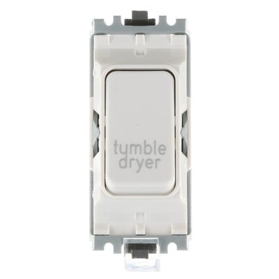 MK 20A Double Pole 1 Way Grid Plus Switch Module printed 'Tumble Dryer' K4896TDWHI