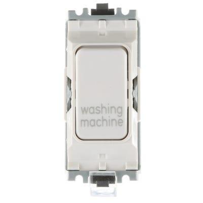 MK 20A Double Pole 1 Way Grid Plus Switch Module printed 'Washing Machine' K4896WMWHI