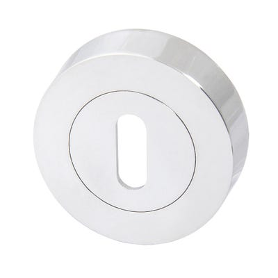 Key Escutcheon on Round Rose Polished Chrome (Pair)