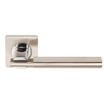 Dale Chronos Handle on Square Rose in Satin Nickel & Polished Chrome