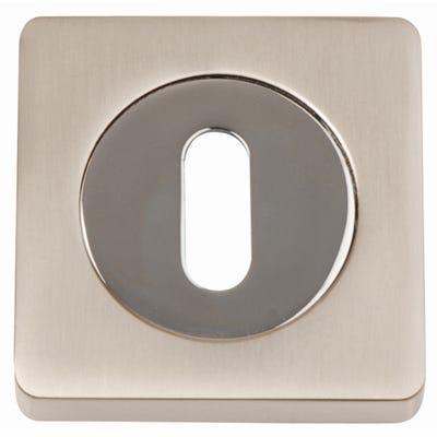 Key Escutcheon on Square Rose Satin Nickel & Polished Chrome (Pair)