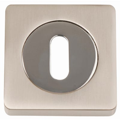 Key Escutcheon on Square Rose Satin Nickel & Polished Chrome (Pair)