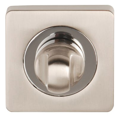 Thumbturn & Release on Square Rose Satin Nickel & Polished Chrome