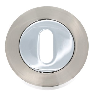 Key Escutcheon on Round Rose Satin Nickel & Polished Chrome (Pair)