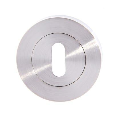 Key Escutcheon on Round Rose Satin Nickel (Pair)