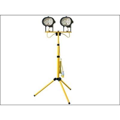 Faithfull 110V Twin Head Site Light Adjustable Stand 1000W