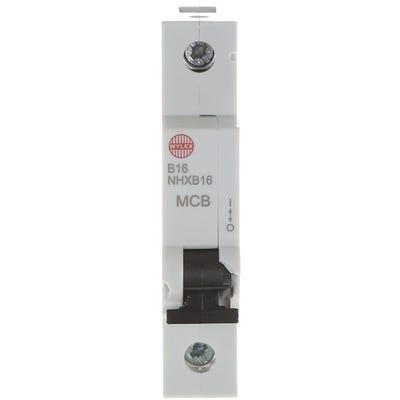 Wylex 16A MCB Single Pole Type B NHXB16