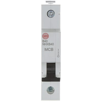 Wylex 40A MCB Single Pole Type B NHXB40