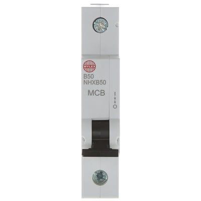 Wylex 50A MCB Single Pole (Type B) NHXB50