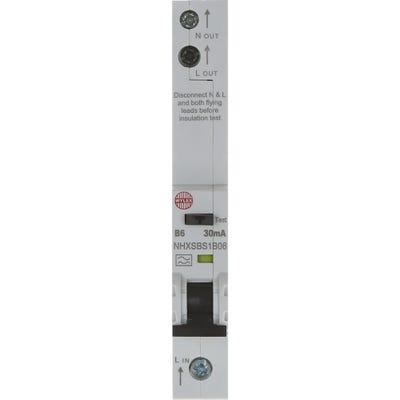 Wylex RCBO Single Pole Single 6A 30mA Module B NHXSBS1B06
