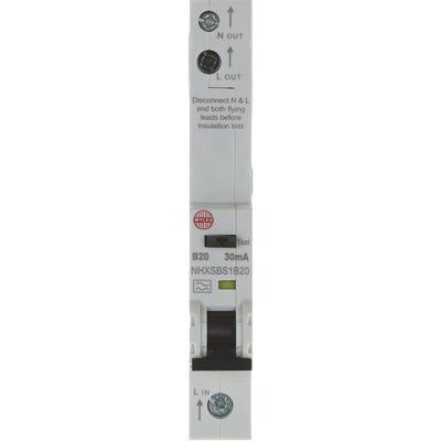 Wylex RCBO Single Pole Single 20A 30mA Module B NHXSBS1B20