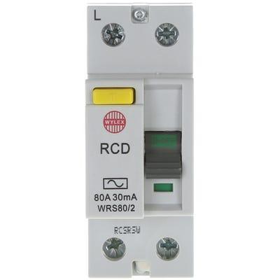 Wylex Double Pole RCD 80A 30mA WRS80/2