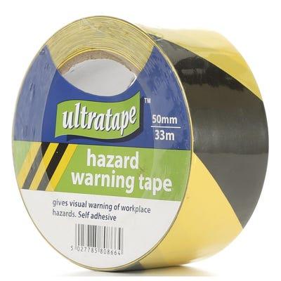 Black & Yellow PVC Hazard Warning Tape 50mm x 33m