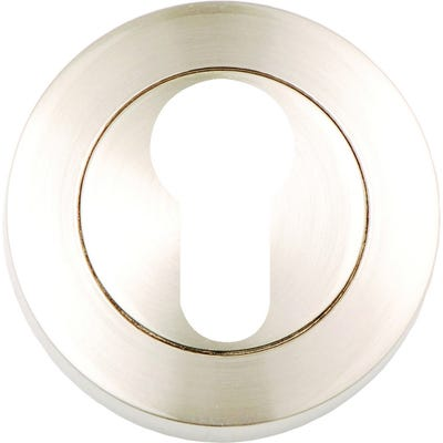 Euro Profile Escutcheon on Round Rose Satin Nickel (Pair)