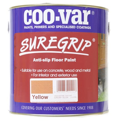 Coo-Var Suregrip Anti-Slip Safety Floor Paint Yellow 2.5L