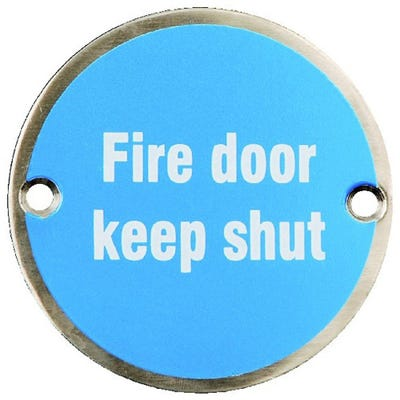 Fire Door Keep Shut Sign in Anodised Aluminium 70mm x 70mm Pack of 2