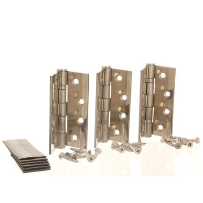 Grade 13 Fire Rated Hinges & Intumescent Pads 102mm Polished Stainless Steel