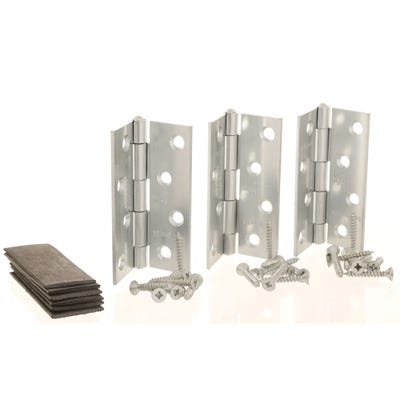 Grade 7 Fire Rated Hinges & Intumescent Pads 102mm Bright Zinc