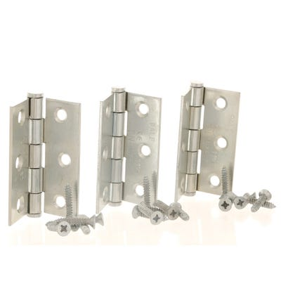 Grade 7 Fire Rated Hinges & Intumescent Pads 76mm Bright Zinc