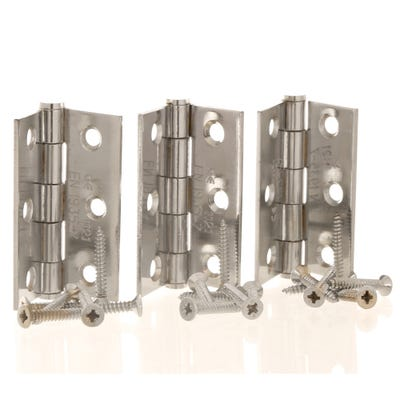 Grade 7 Fire Rated Hinges & Intumescent Pads 76mm Polished Chrome
