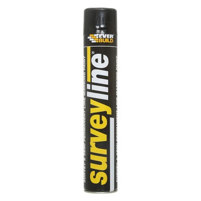 Everbuild Surveyline Site Spray Paint Black 700ml