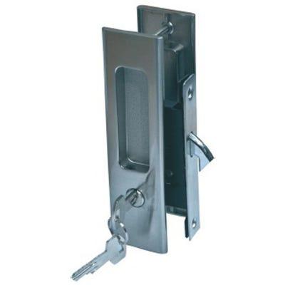 Sliding Door Lock Entrance Set Satin Chrome