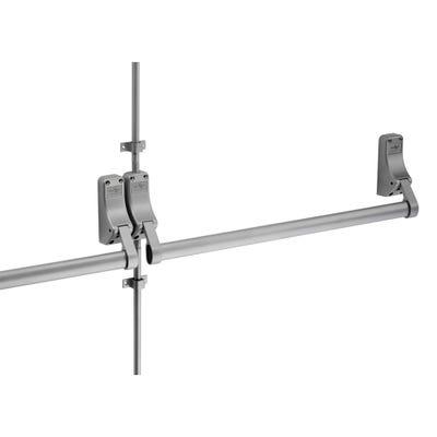Double Door Push Bar & Latch Set (Rebated) Silver