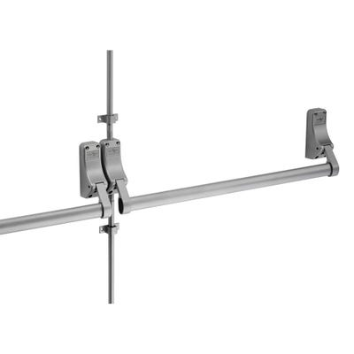 Double Door Push Bar & Latch Set (Rebated) Silver