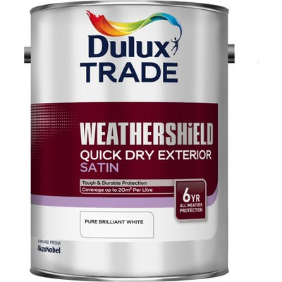 Dulux Trade Weathershield Quick Dry Exterior Satin Pure Brilliant White