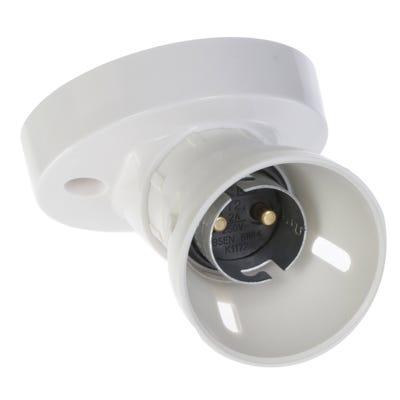MK Batten Lamp Holder White Angled K1172WHI
