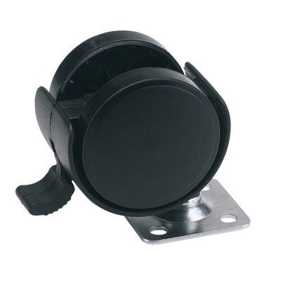 Draper 40mm Swivel Plate Twin Nylon Castor With Brake Max Load 25Kg