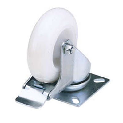 Draper 75mm Swivel Plate Nylon Wheel With Brake Max Load 70Kg
