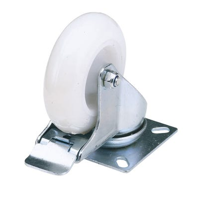 Draper 100mm Swivel Plate Fixing Nylon Wheel With Brake Max Load 125Kg