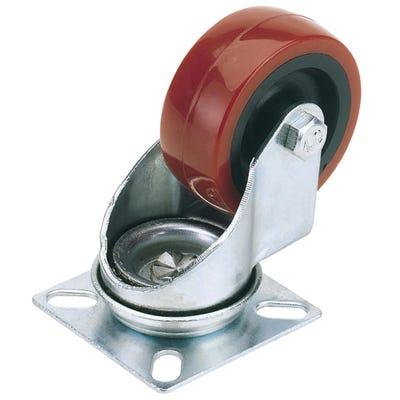 Draper 50mm Swivel Plate Polyurethane Wheel Max Load 50Kg