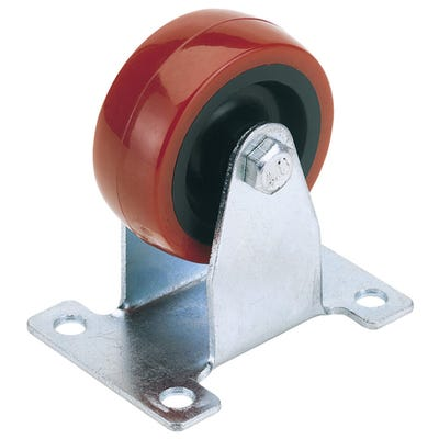 Draper 50mm Fixed Plate Polyurethane Wheel Max Load 75Kg