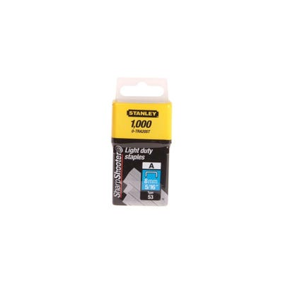 Stanley 8mm Light-Duty Staples Pack Of 1000 STA0TRA205T