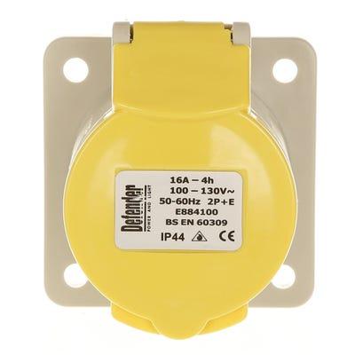 Defender 16A 110V Yellow Panel Socket E884105