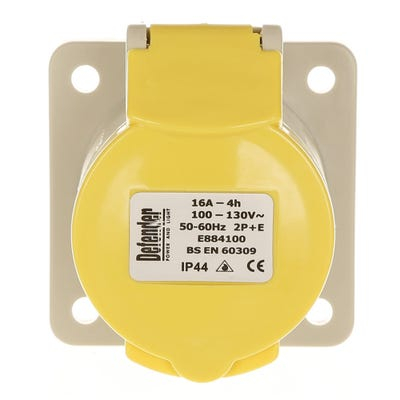 Defender 16A 110V Yellow Panel Socket E884105