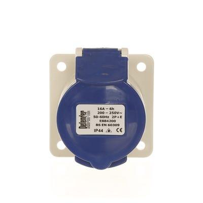 Defender 16A 230V Blue Panel Socket E884205