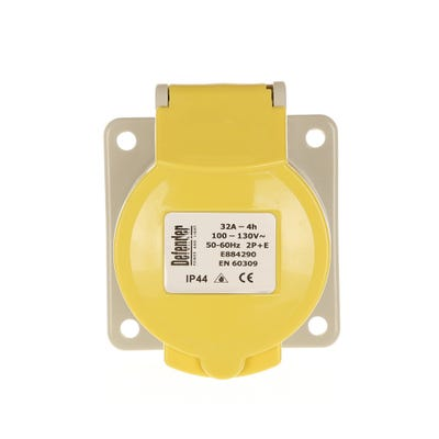 Defender 32A 110V Yellow Panel Socket E884295