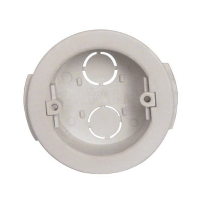 1 Gang 32mm Circular Drylining Box White
