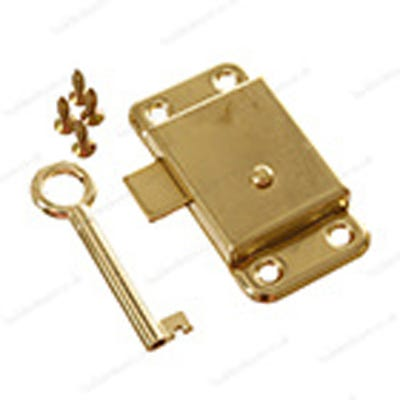 Wardrobe or Cupboard Lock & Key 63mm Brass