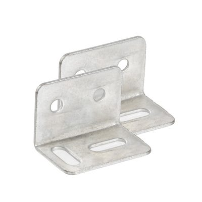 Square Cranked Stretcher Plates 19mm Bright Zinc Pack of 2