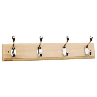 Coat Rail with 4 Hooks Polished Chrome