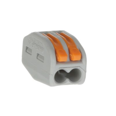 Wago 2 Way Lever Cable Connector 222 Series Grey/Orange Pack of 20